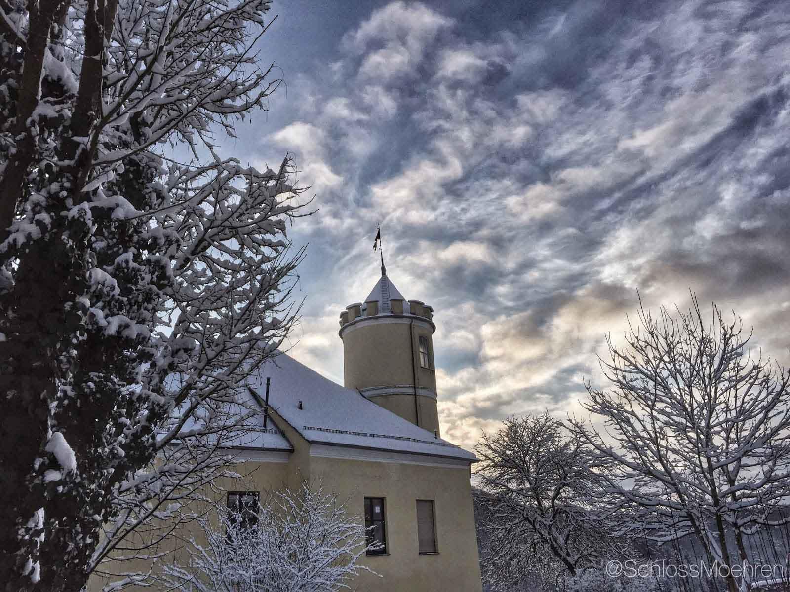 Winter op een kasteel